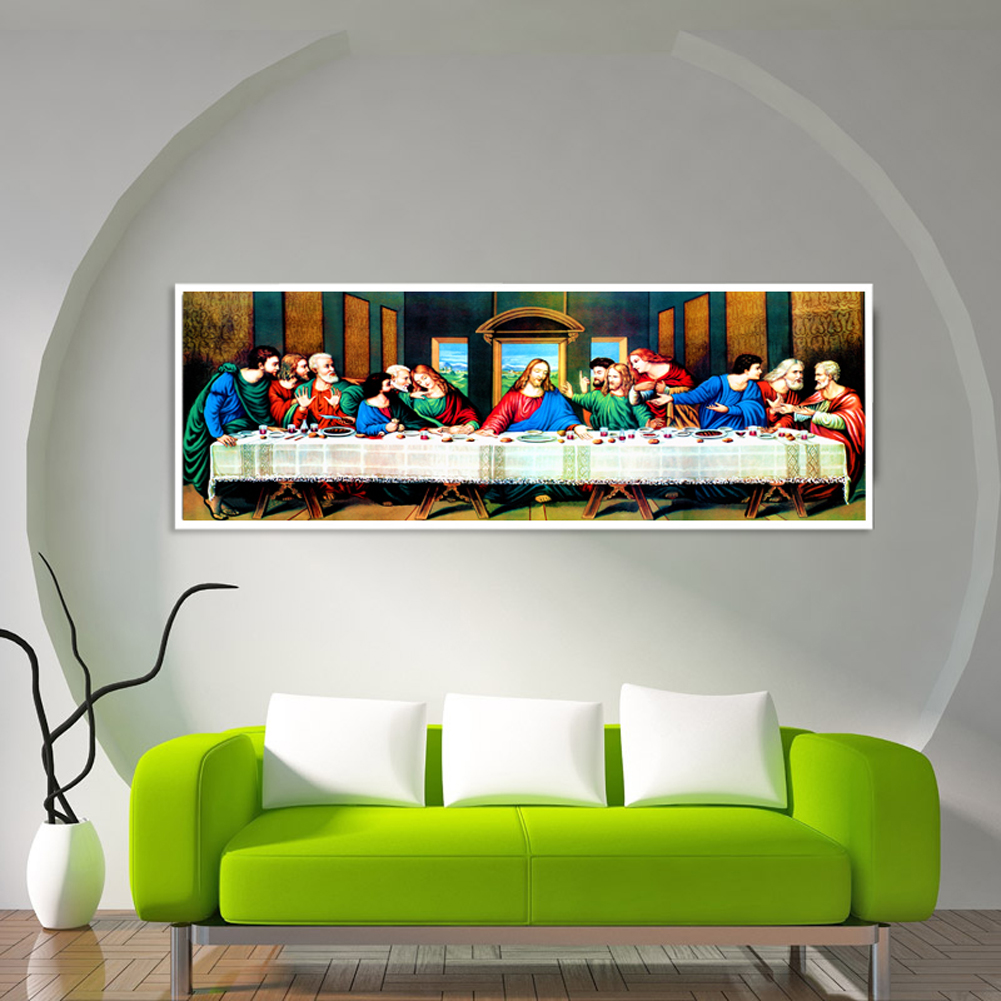 80*30cm 5D DIY Round Diamond Painting Embroidery Christianity Jesus Religious Needlework Last Supper Pictures Cross Stitch Craft