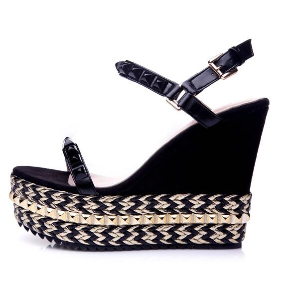 3bc31526afe2 Woman Rope Braided Platform Wedge Sandal Sexy Open toe Rivets Studded Ankle  Strap Sandal Summer Fashion Dress Shoes Free Ship