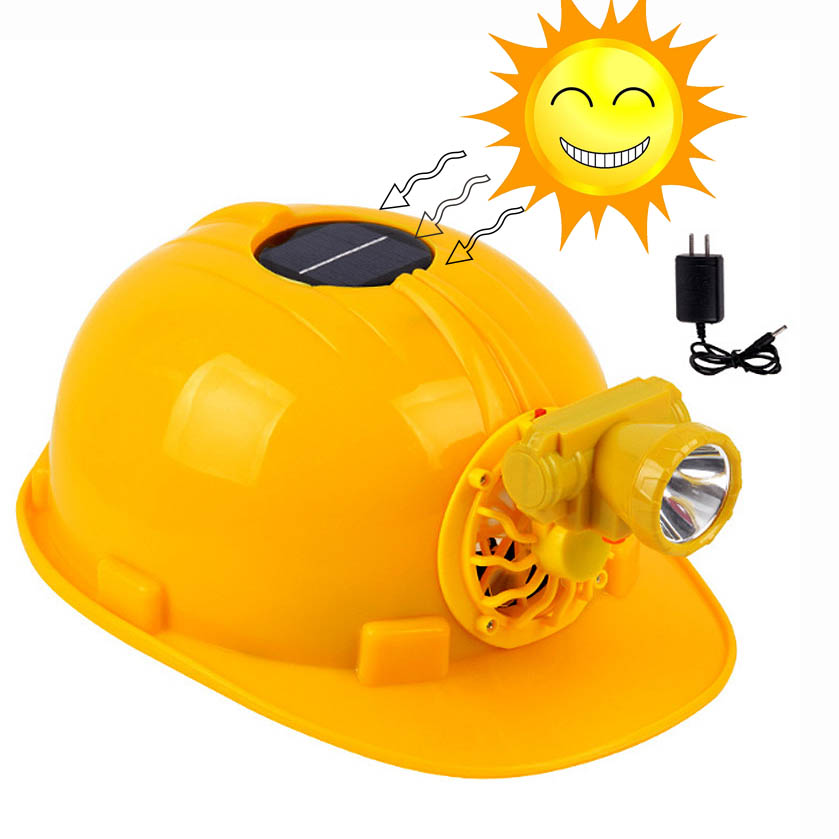 Solar Fan Cap Summer Cooling Safety Helmet With LED Lamp Charging Engineering Construction Protective Helmet Working Hard Hat