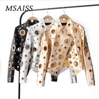 MSAISS Autumn New Ladies Hollow Metal Color Motorcycle Leather Jacket Punk Style Ladies PU Leather Coat