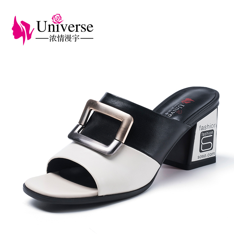 Univers 2018 fashion summer slippers genuine leather shoes sandals slipper H093