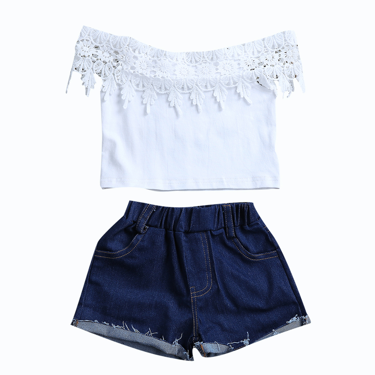 2017 New Fashion Children Girls Clothes Off Shoulder Lace Crop Tops White+Denim Shorts Hot Pant 2PCS Outfits Kids Clothing Set 2017 new fashion kids clothes off shoulder camo crop tops hole jean denim pant 2pcs outfit summer suit children clothing set