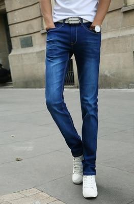 Мужские обтягивающие джинсовые брюки, небесно-голубые/белые однотонные зауженные джинсы, брюки стрейч, повседневный стиль, на весну-лето - Цвет: Синий
