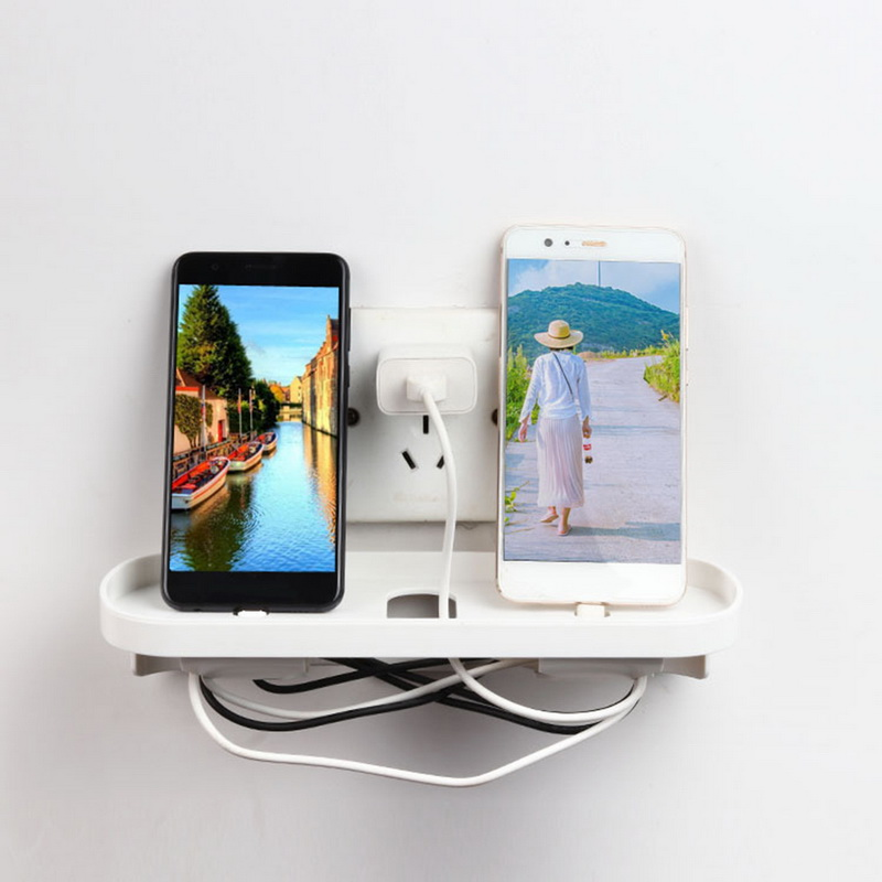 Sweet-Tempered Bathroom Shelves Plastic Mobile Phone Holder Wall Mount Smart Phone Tablet Hanging Stand Charge Holder Bracket Shelf Nail-free Back To Search Resultshome Improvement Bathroom Hardware