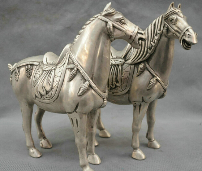 9 China Bronze Silver Statue Achieve immediate victory Horse Pair R0712 B04039 China Bronze Silver Statue Achieve immediate victory Horse Pair R0712 B0403