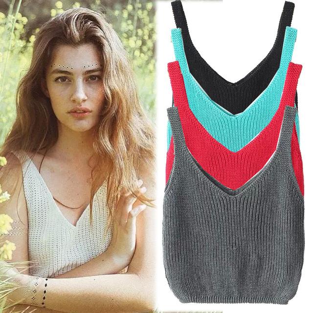 Knitting Vintage Recortada Top Mujeres Bralette Lencería Bustier 2016 Sexy Camisola Blusa Crop Tees Harajuku Tanques Camis Ropa de Reino Unido
