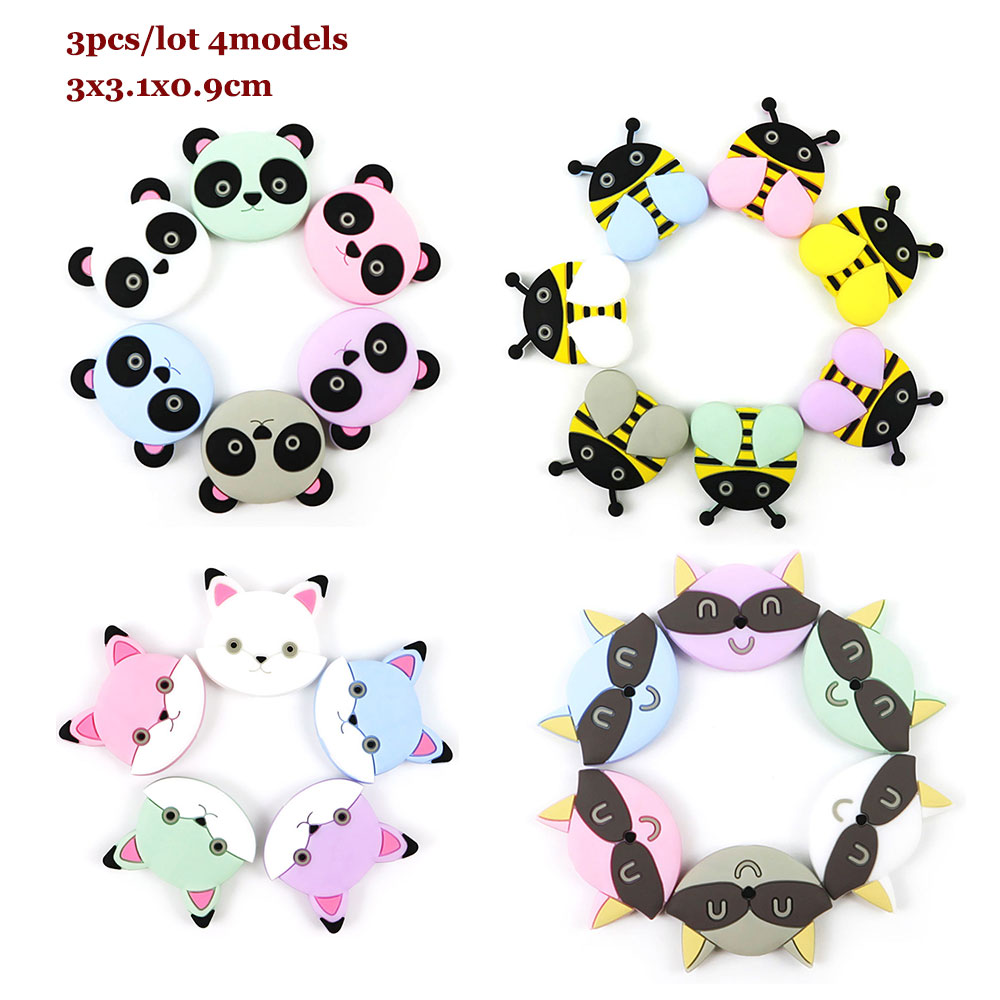3Pcs Panda Fox Silicone Beads Siliconen Kralen Teething Beads 3cm Animal Honeybee Deer Perle Silicone Dentition Baby Products