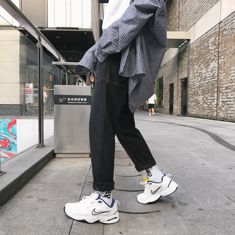 Image 5 - 2018 Japanese Style Mens Fashion Loose Brand Pocket Haren Casual  Straight Pants Grey/black Color Youth Trousers Plus Size M XL  -