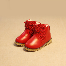 2017Hot sale winter children's shoes girls princess Add wool leather boots with flowers waterproof Wear-resistant non-slip boots