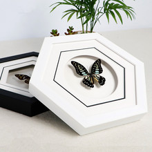 Butterfly decorative painting True butterfly specimen Insect Stereo 3D photo frame Living room hexagon crafts gifts