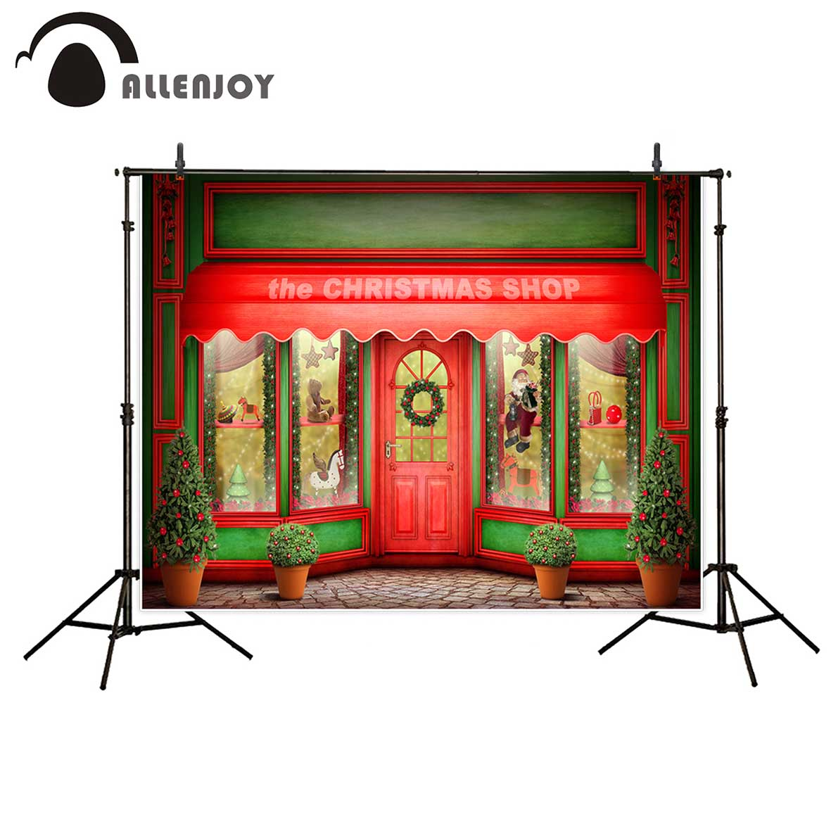 Allenjoy photography background Red green Christmas shop window doll potted backdrop font b Photo b font