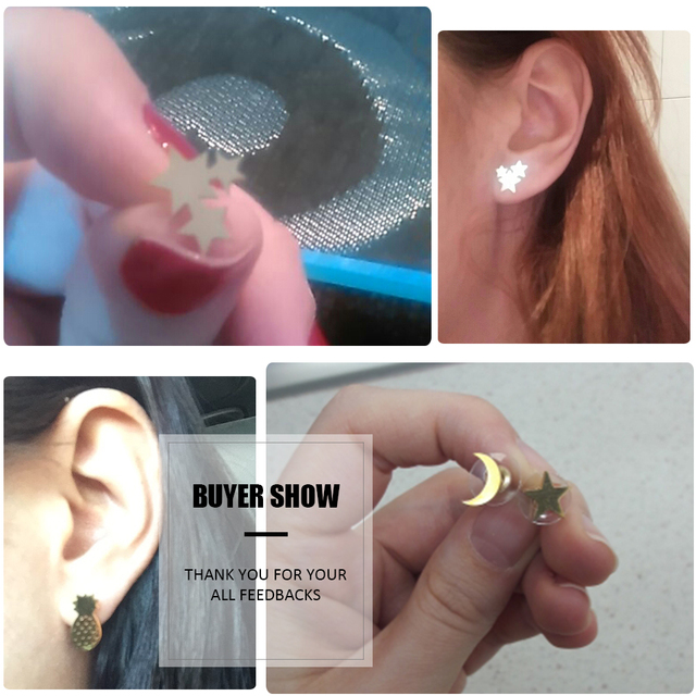 Unique Ladies' Golden Stainless Steel Cute Stud Earrings Carnations | Animal Heart Leaves | Cat Earrings | Minimalist Jewelry