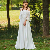 Dressv Long Wedding Dresses Off The Shoulder A Line Lace Three Quarter Sleeves Elegant Church Garden