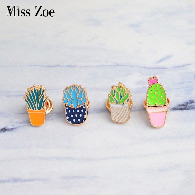 Miss Zoe Cactus Succulent Plants Aloe Vera Scindapsus Cartoon Potted plants Brooch Button Pin Denim coat Pin Badge Gift Jewelry