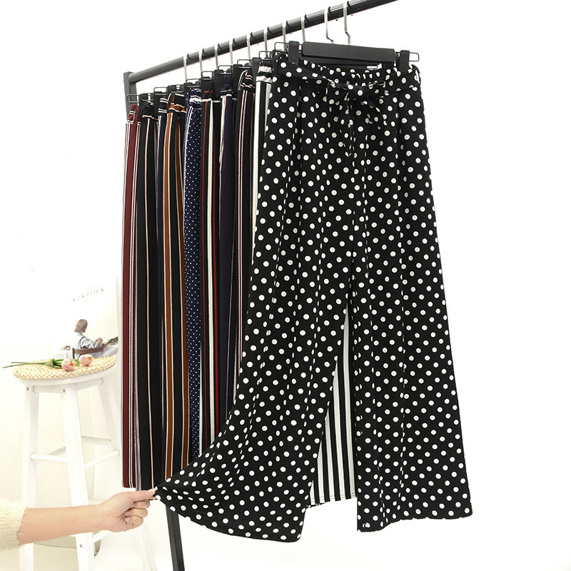Summer Loose Casual Wide Leg Pants Fashion Stripes Plaid Dot Printed Cropped Trousers For Women Knitted Capris Pants