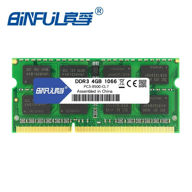 Binful DDR3 2 GB PC3-8500 4 GB 1066 MHz para laptop memoria Ram sodimm Memória Notebook 1.5 V