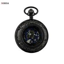 Esqueleto de bolsillo mecánico relojes Reloj Masculino 2017 Negro Viento Mano Retro Vintage Reloj de Bolsillo Pendiente Del Regalo relogio masculino