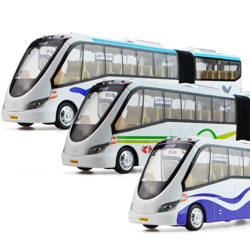Alloy Diecast City Tour Bus Public Transport Double Container Buses Pull Back Action Light&Sound Vehicle Model Kids Hobby Toys