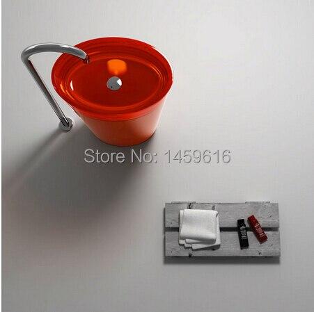 Bathroom Round Pedestal Washbasin Resin Acrylic Colored Cloakroom Freestanding Vanity Sink W9019