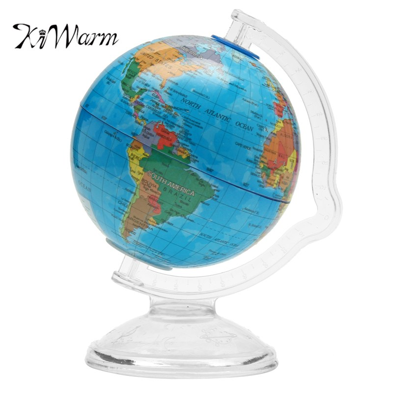 KiWarm Geography Globe World Map Ornaments for Home Office Decor Craft Gift for Children 10.6cm Coin Bank Design English