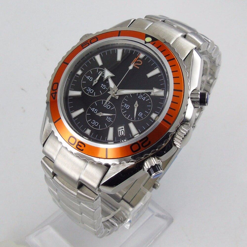 2019 nouvelle arrivée 46mm cadran noir montre pour hommes Orange lunette boîte en acier inoxydable affichage de la Date Quartz mouvement montre pour homme