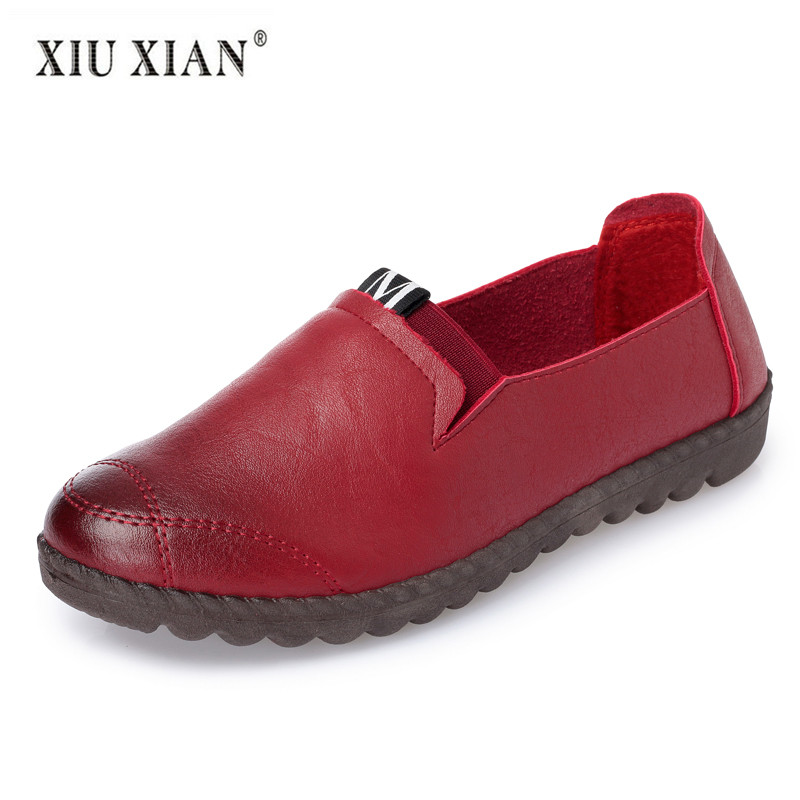 2018 Summer Autumn New Fashion Mother Shoes Breathable PU Leather Comfortable Loafers Big Size Non Slip Women Working Flats Shoe working mother