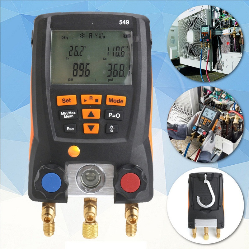 Refrigeration Testo 549 Digital Manifold HVAC Gauge System Kit Meter 0560 0550 testo 550 1 refrigeration manifold kit 0563 5505 with 1 clamp probe surface temperature measurement