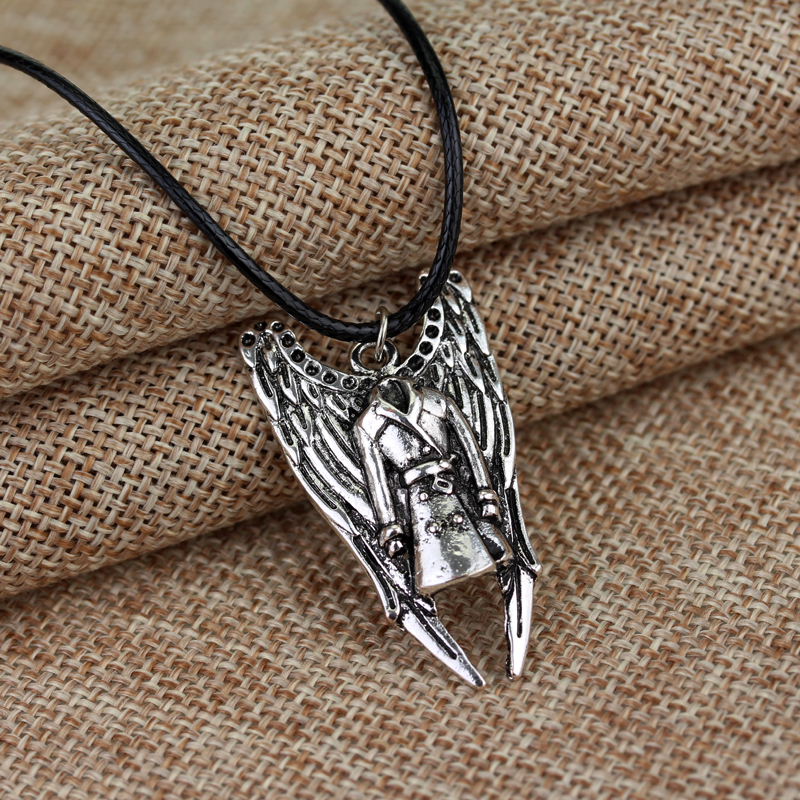 Supernatural Jewelry Angel Sword Leather Rope Necklace Silver Pendant Necklace