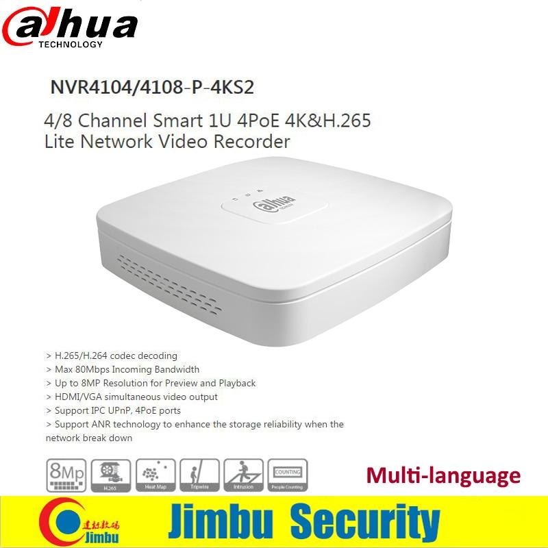 dahua p2p 4k nvr 4ch 8ch 16ch video recorder nvr4104hs 4ks2 nvr4108hs 4ks2 nvr4116hs 4ks2 h 265 8mp resolution Dahua NVR 4K Video Recorder NVR4104-P-4KS2 NVR4108-P-4KS2 4Ch 8Ch H.265 4 PoE Ports Network replace NVR4104-P 4108-P