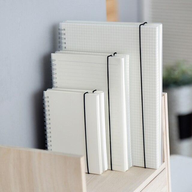 Simple estilo lindo PP cubierta de PVC espiral cuaderno en blanco diario lácteos libro de bocetos para la escuela A5 A6 B5 papelería
