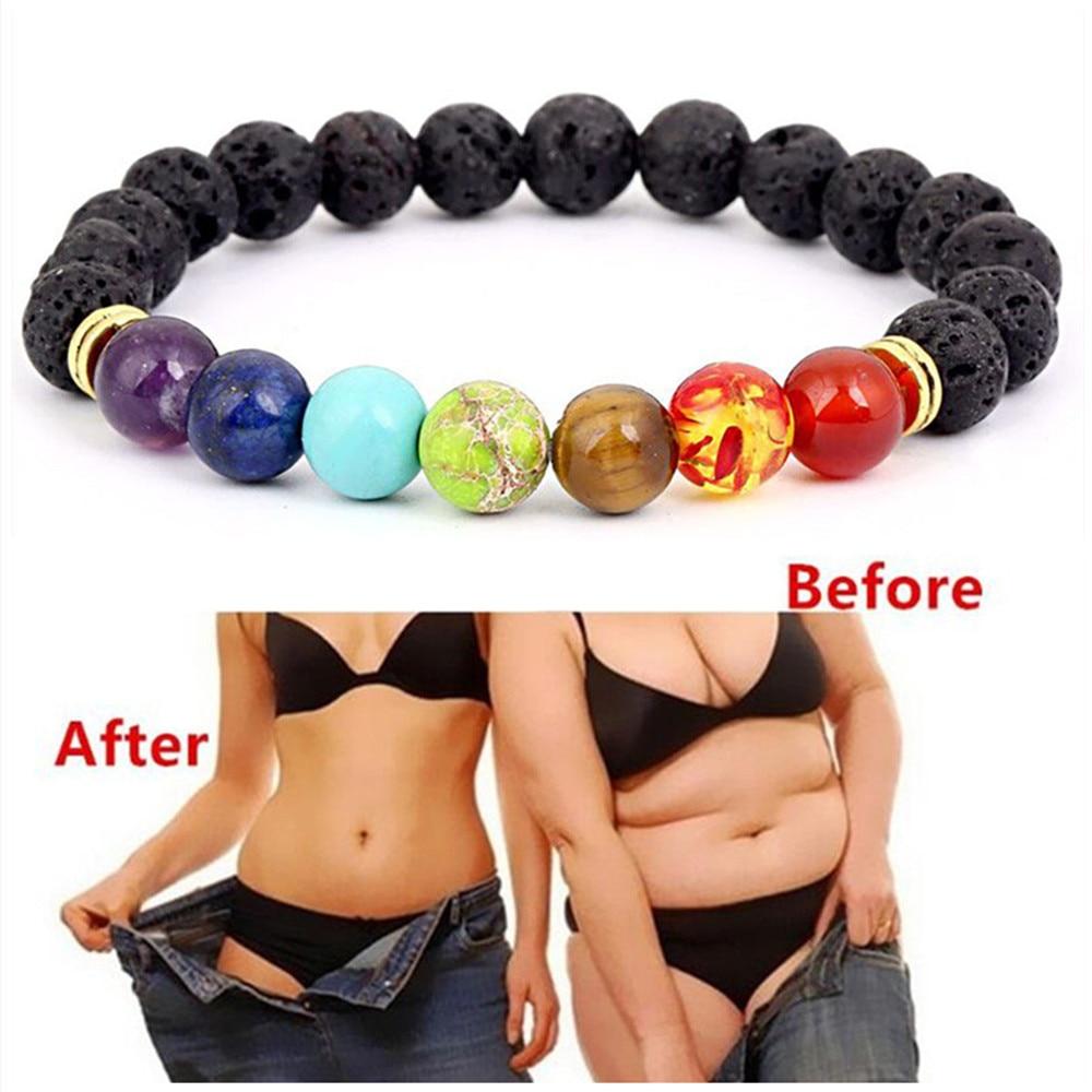 New Buddha Bless Lose Weight Chakra Bracelet Men Black Lava Healing Balance Beads Reiki Prayer Natural Stone Bracelet For Women