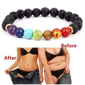 Image 1 - New Buddha Bless Lose Weight Chakra Bracelet Men Black Lava Healing Balance Beads Reiki Prayer Natural Stone Bracelet For Women