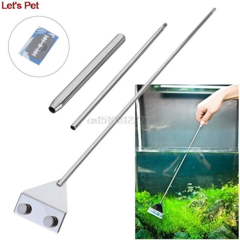In Acciaio Inox Aquarium Fish Tank Alghe Rasoio Lama Raschiante Acquatico Acqua Diretta Pianta Erba Pulizia Multi-Tool Cleaner Kit Set