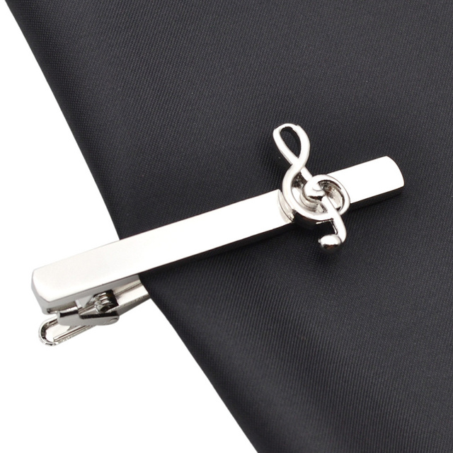 Lychee Vintage Tie Clip Decorative Musical Note Silver Color Clips Necktie Pin Shirt Jewelry