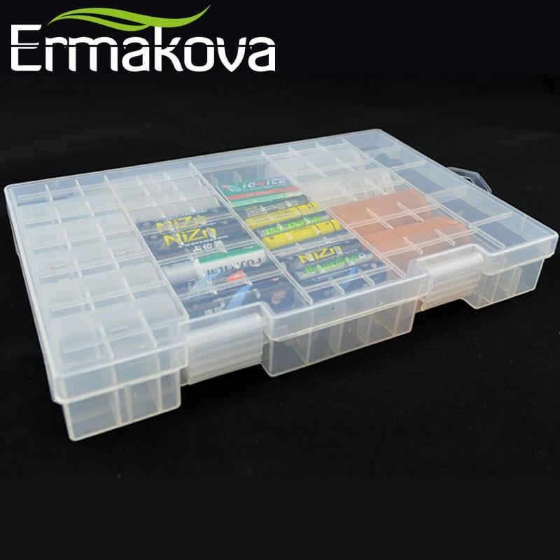 ERMAKOVA 27.5cm მყარი პლასტიკური გამჭვირვალე ბატარეის ორგანიზატორი ბატარეის ღილაკი კონტეინერის ბატარეის მფლობელის შესანახი ყუთი AAA AA C D 9V