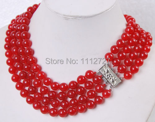 Accessory Crafts New 4Rows 8mm Red Round Beads Jewelry Necklace Semi Finished Stones Balls Gifts Wholesale Fitting Female Parts