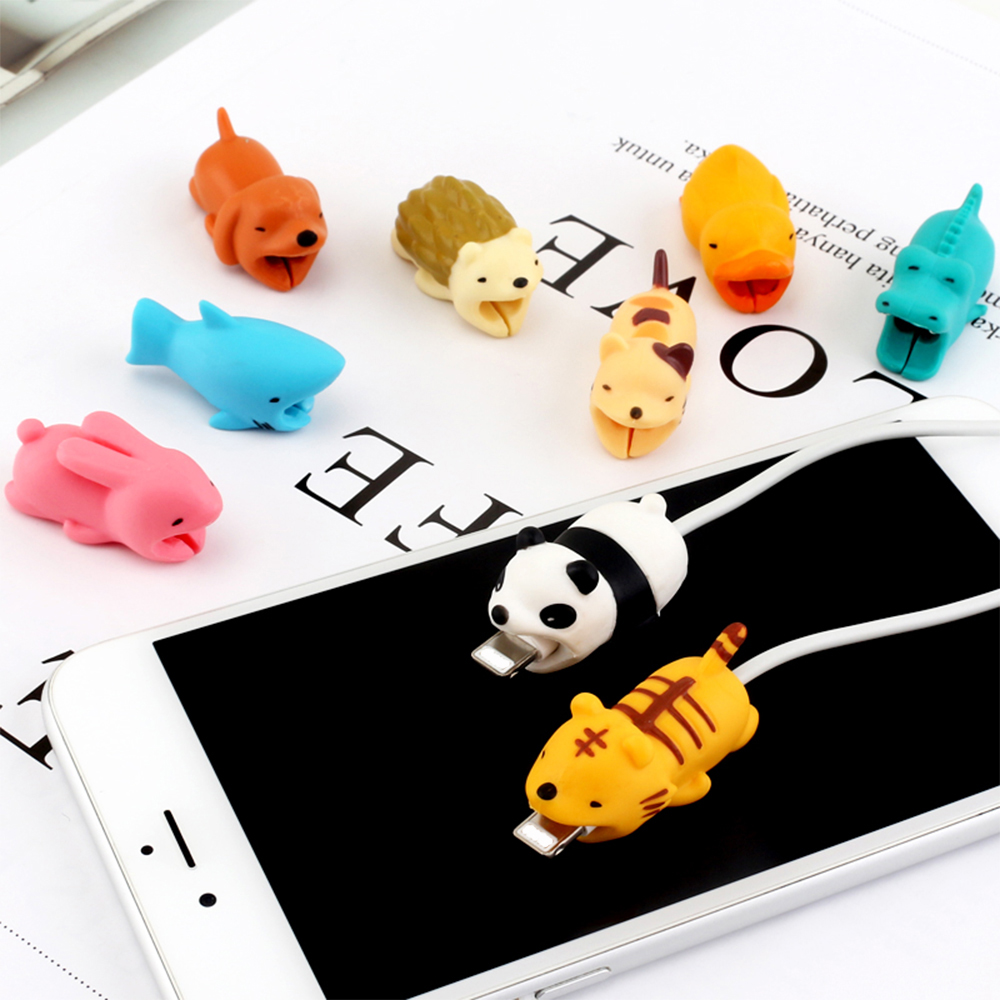 Cute Animal Anti-Break USB Data <font><b>Cable</b></font> Universal <font><b>Cable</b></font> Winder Saver for iPhone X XS Charger <font><b>Cable</b></font> Cord Cover For Redmi Note 7 Pro image