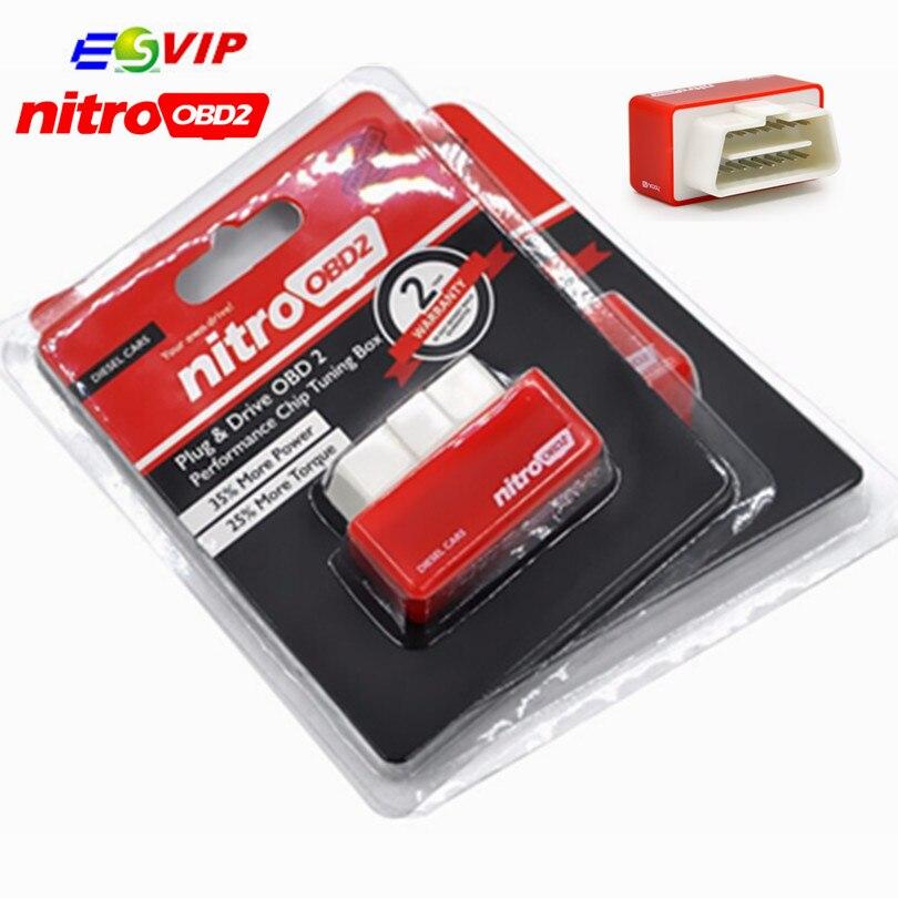 DHL Бесплатная для дизельных Nitro OBD2 чип тюнинг коробка более Мощность и крутящий момент nitroobd2 АВТО OBDII производительность Nitro plug & диск/50 шт.