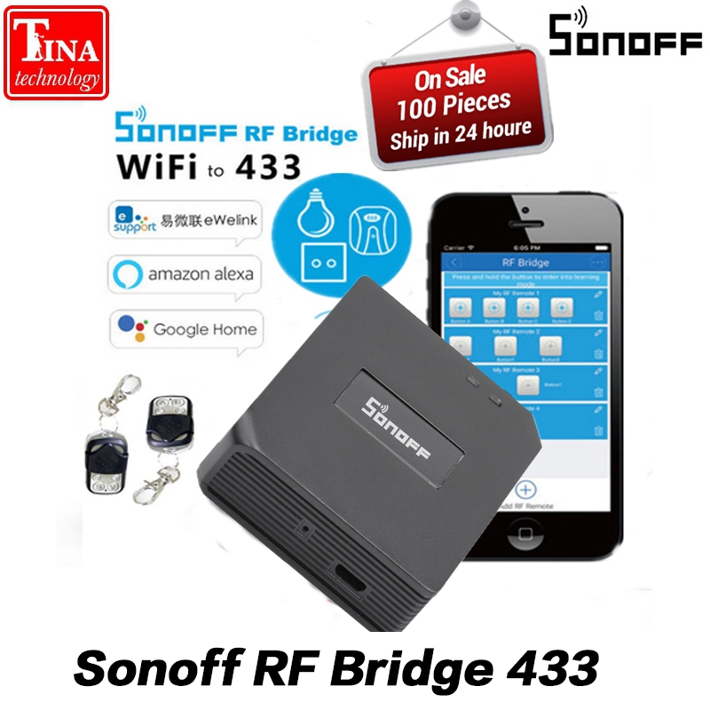 Original Sonoff RF Bridge 433 Smart Home Automation Module Wifi Switch Universal Timer Diy 433Mhz Remote Controller replacement