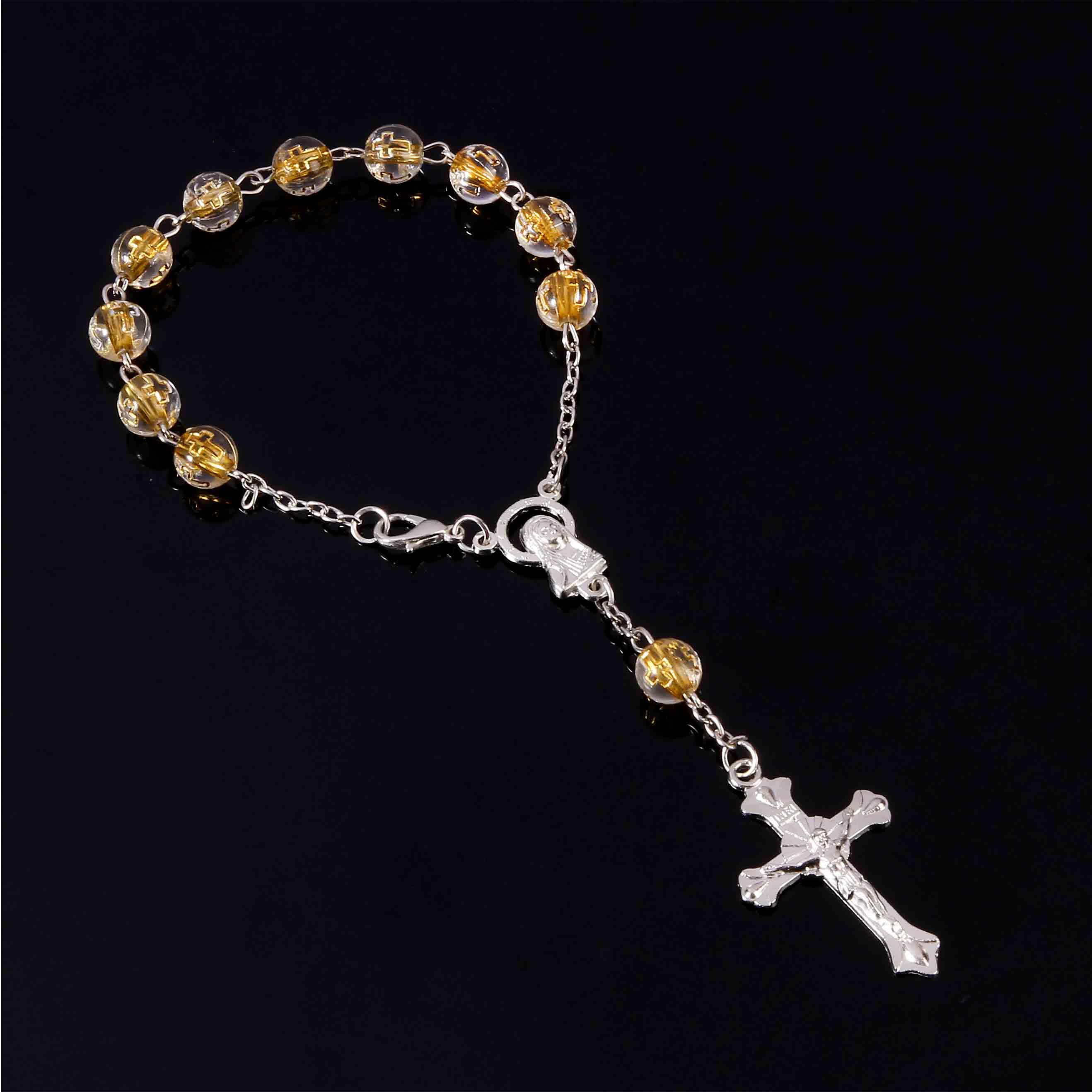 Cooperative Jesus Golden Line Rosary Cross Saint Benedict Rosary Bracelet Austrian Divine Center Mercy Saint Religious Icon Beaded Bracelet