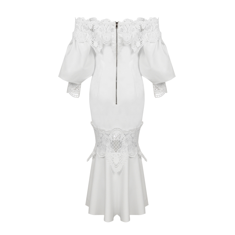 Partie 2019 D'été Dress Femmes Shoulderelegant Longueur Sexy Lacée Bqueen White Off Longue Nouveau Robe Lady R6qvzdwz