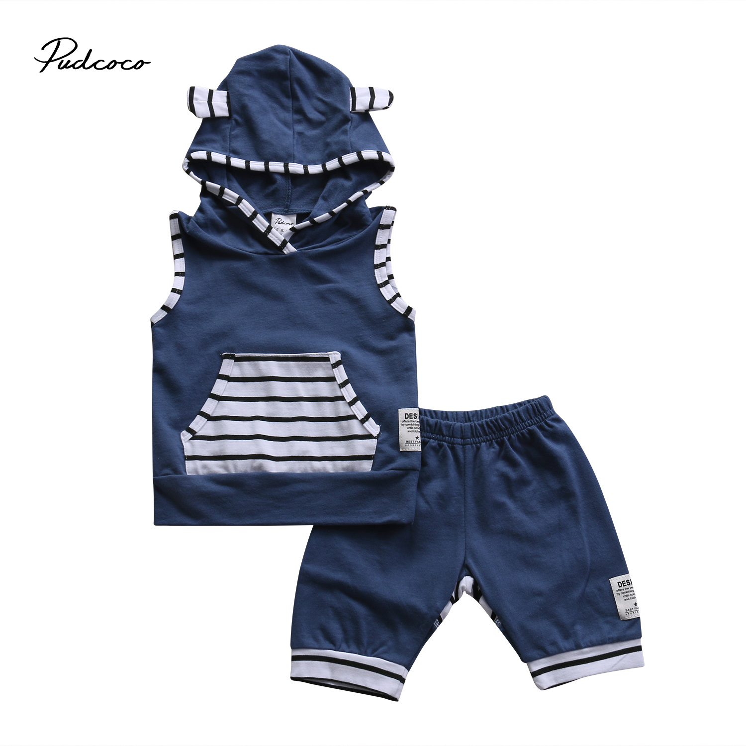 Pudcoco 2pcs Toddler Kids Baby Boys Girls Outfits Cotton Sleeveless Striped Hooded +Pants Clothes Set 0-3 Years Helen115