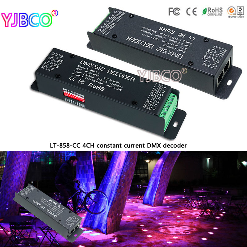 LT-858-CC;4CH CC DMX/RDM Decoder;DC12-48V input;CC 350/700/1050mA 3 in 1*4CH output led controller for led lamp new ltech led dmx decoder 4ch cc rgb strip dmx decoder dc12 48v in 700ma 4ch output dc12 46v output 4 channel dmx pwm decoder