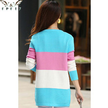Knitted Cotton Patchwork O-Neck Pink/Blue/red cardigan