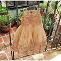 2016 Summer New Girls Lace Vest Dress Baby Girl Princess Dress 2-7 Age Chlidren Clothes Kids Party Costume Ball Gown