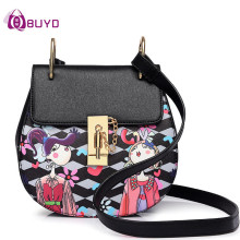 Women Crossbody Bag Ladies Mini Pig Bags Chain Anime Printing Saddle Handbags Women Leather Shoulder Bags Women's Messenger Bag