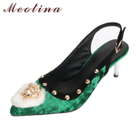 Meotina Women 2018 Shoes Spring High Heels Slingbacks Velvet Shoes Pumps Rivets Fur Pointed Toe Thin High Heel Sexy Party Shoes