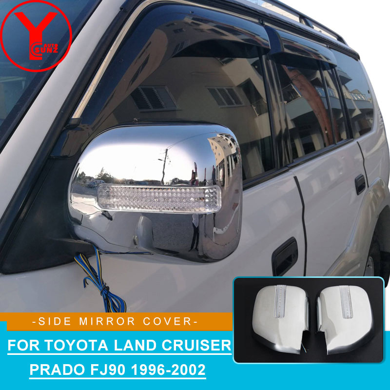 chrome rearview mirror cover with light For Toyota Land cruiser Prado fj90 3400 Spoiler Car Styling accessories for fj90 YCSUNZchrome rearview mirror cover with light For Toyota Land cruiser Prado fj90 3400 Spoiler Car Styling accessories for fj90 YCSUNZ