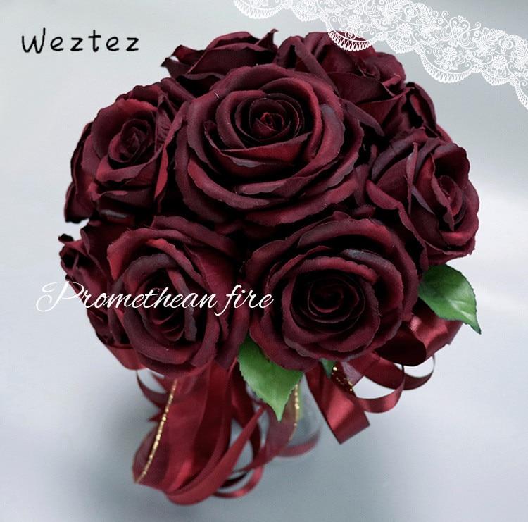 Bridal Bouquet Hot Red Wedding Bouquets Artificial Foam Flowers Foam Roses For Wedding Arrangement PH12