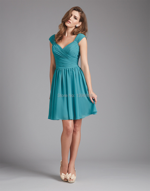Free Shipping Turquoise Bridesmaid Dress 2014 V Neck Modest Party Dress  With Sleeve A Line Chiffon Mini Vestido De Festa AB256 68ad0ec787b5